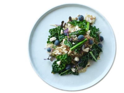 Black kale bowl on plate